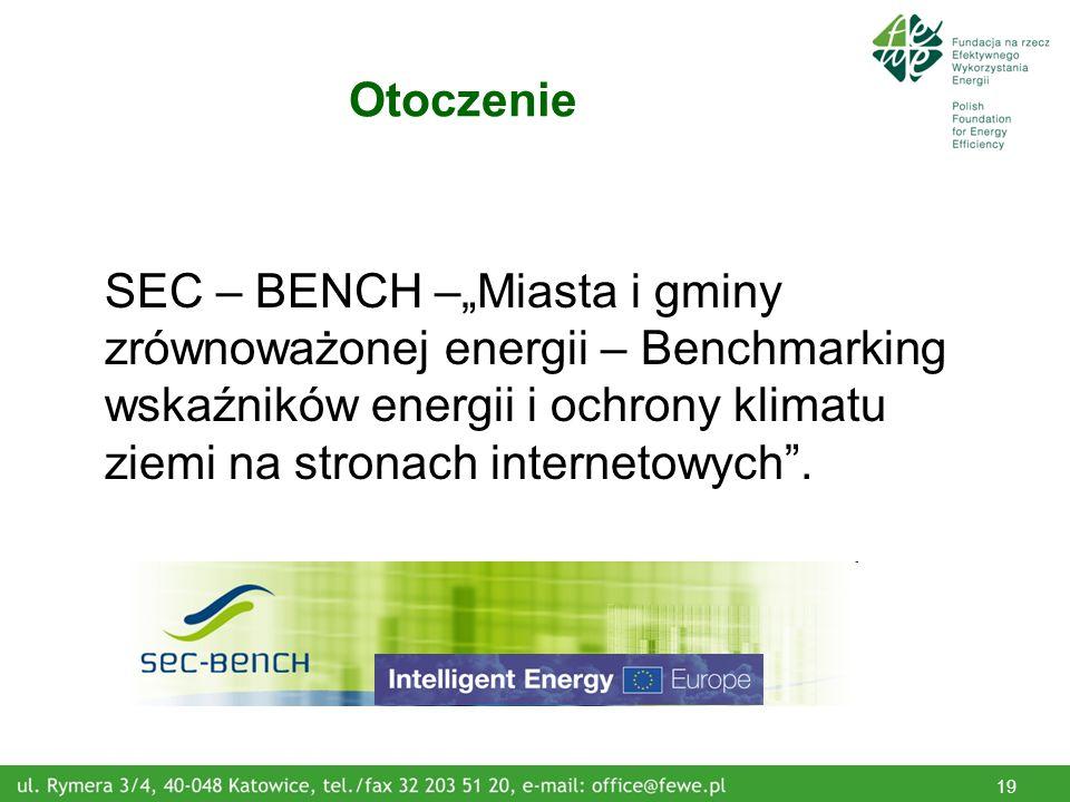 19 Otoczenie SEC – BENCH –Miasta i gminy zrównoważonej energii – Benchmarking wskaźników energii i ochrony klimatu ziemi na stronach internetowych.