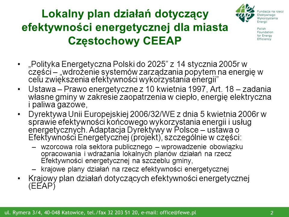 2 Lokalny plan działań dotyczący efektywności energetycznej dla miasta Częstochowy CEEAP Polityka Energetyczna Polski do 2025 z 14 stycznia 2005r w części – wdrożenie systemów zarządzania popytem na energię w celu zwiększenia efektywności wykorzystania energii Ustawa – Prawo energetyczne z 10 kwietnia 1997, Art.