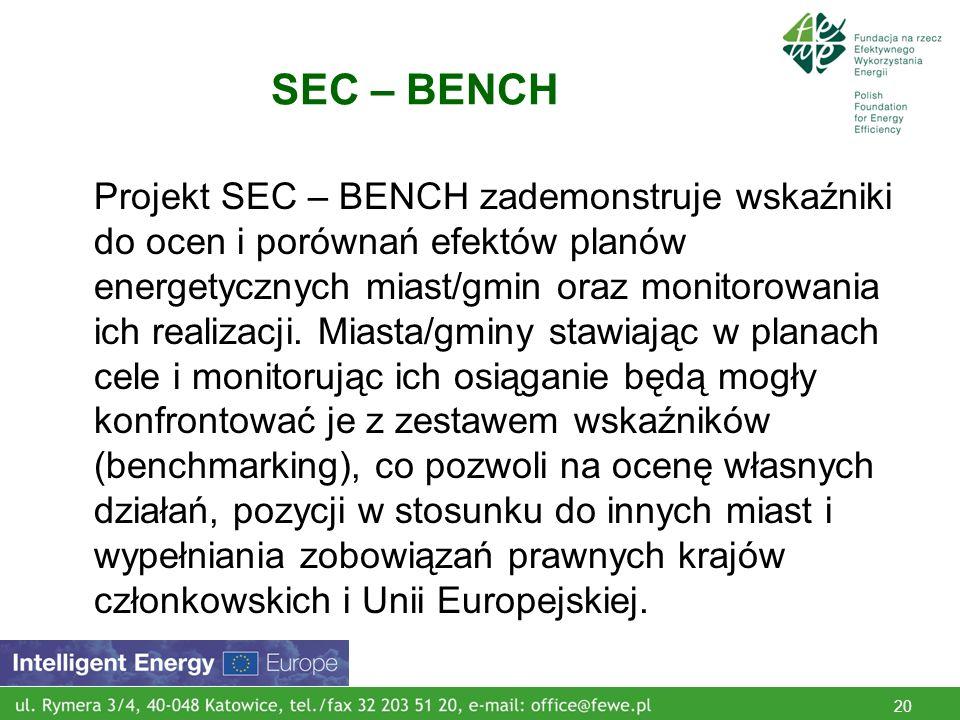 20 SEC – BENCH Projekt SEC – BENCH zademonstruje wskaźniki do ocen i porównań efektów planów energetycznych miast/gmin oraz monitorowania ich realizacji.