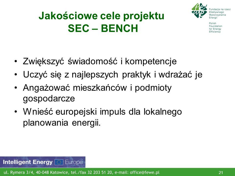 21 Jakościowe cele projektu SEC – BENCH Zwiększyć świadomość i kompetencje Uczyć się z najlepszych praktyk i wdrażać je Angażować mieszkańców i podmioty gospodarcze Wnieść europejski impuls dla lokalnego planowania energii.