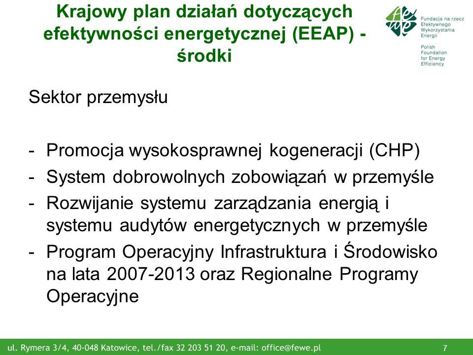 8 Krajowy plan działań dotyczących efektywności energetycznej (EEAP) - środki Sektor transportu -Wprowadzenie systemów zarządzania ruchem i infrastrukturą transportową -Promowanie systemów transportu zrównoważonego oraz efektywnego wykorzystania paliw w transporcie