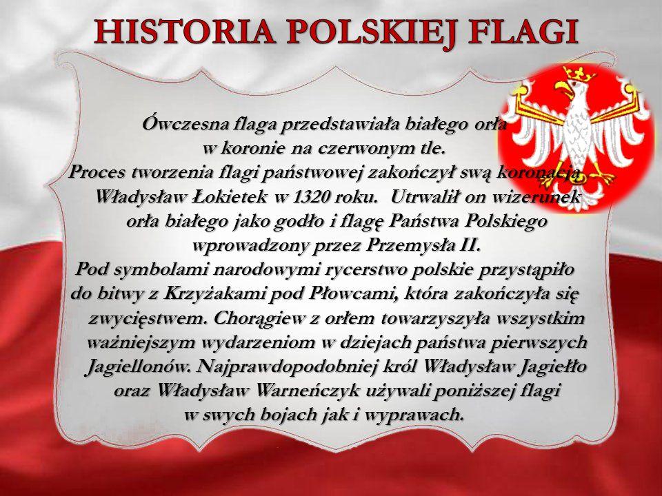 Ówczesna flaga przedstawiała białego orła w koronie na czerwonym tle. Proces tworzenia flagi państwowej zakończył swą koronacją Władysław Łokietek w 1