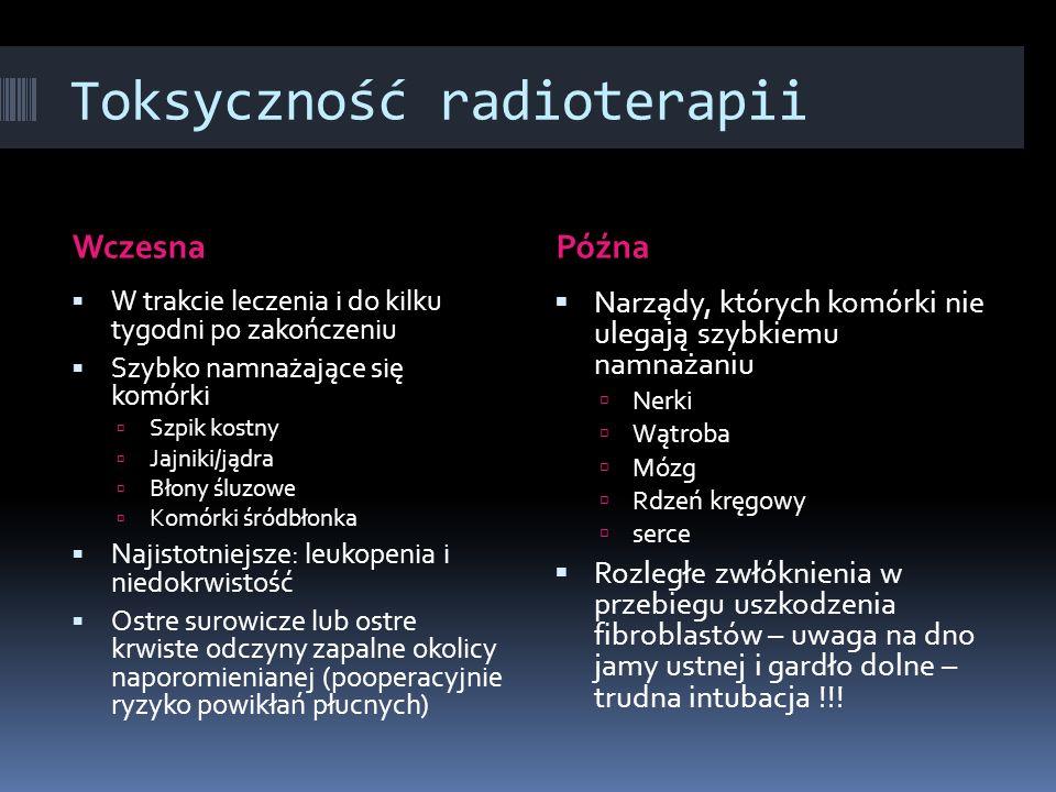 Toksyczność radioterapii WczesnaPóźna W trakcie leczenia i do kilku tygodni po zakończeniu Szybko namnażające się komórki Szpik kostny Jajniki/jądra B