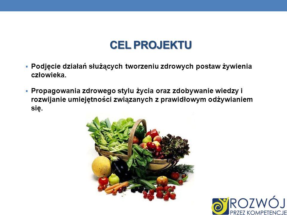 CEL PROJEKTU Podjęcie działań służących tworzeniu zdrowych postaw żywienia człowieka. Propagowania zdrowego stylu życia oraz zdobywanie wiedzy i rozwi