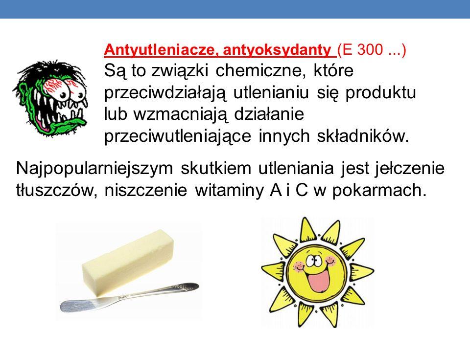 Antyutleniacze, antyoksydanty (E 300...) Są to związki chemiczne, które przeciwdziałają utlenianiu się produktu lub wzmacniają działanie przeciwutleni