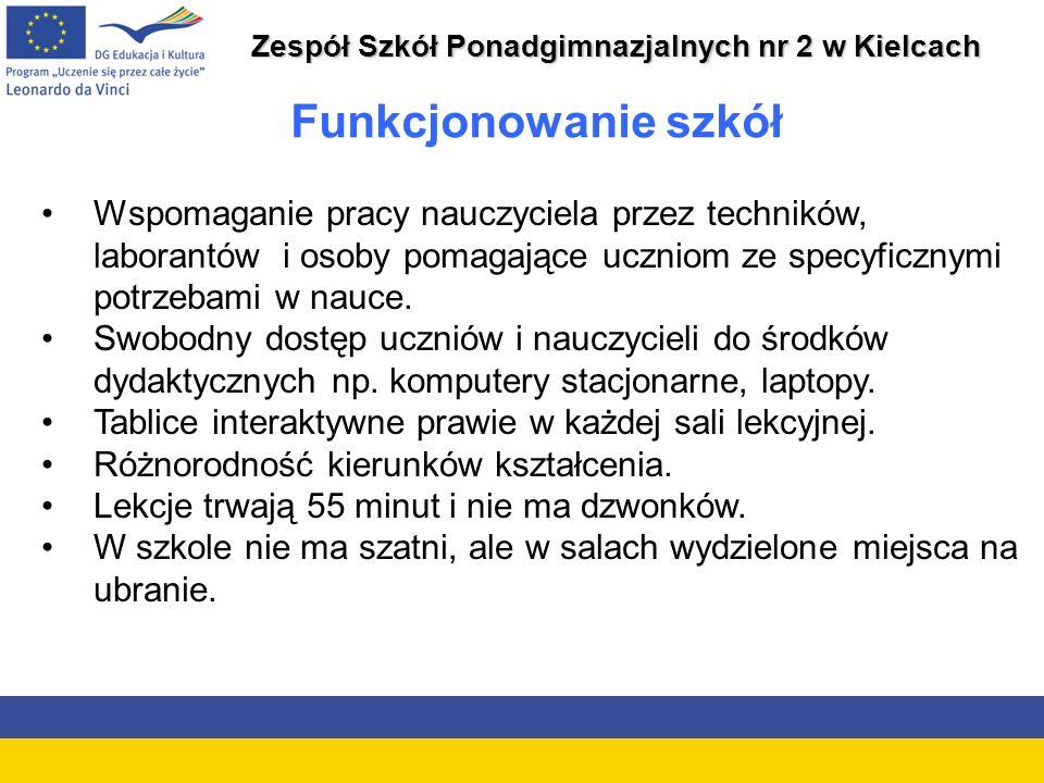 Zespół Szkół Ponadgimnazjalnych nr 2 w Kielcach Funkcjonowanie szkół Wspomaganie pracy nauczyciela przez techników, laborantów i osoby pomagające uczniom ze specyficznymi potrzebami w nauce.