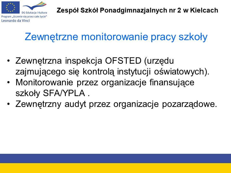 Zespół Szkół Ponadgimnazjalnych nr 2 w Kielcach Zewnętrzne monitorowanie pracy szkoły Zewnętrzna inspekcja OFSTED (urzędu zajmującego się kontrolą instytucji oświatowych).