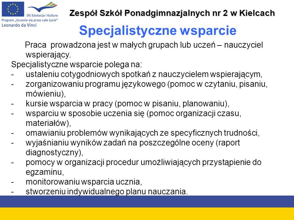 Zespół Szkół Ponadgimnazjalnych nr 2 w Kielcach Specjalistyczne wsparcie Praca prowadzona jest w małych grupach lub uczeń – nauczyciel wspierający.