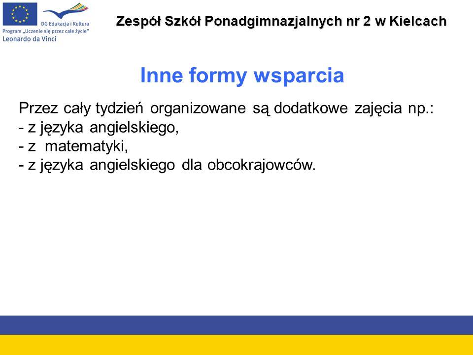 Zespół Szkół Ponadgimnazjalnych nr 2 w Kielcach Inne formy wsparcia Przez cały tydzień organizowane są dodatkowe zajęcia np.: - z języka angielskiego, - z matematyki, - z języka angielskiego dla obcokrajowców.