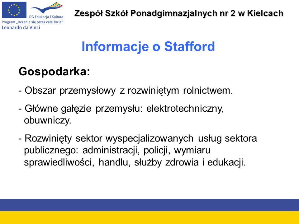 Zespół Szkół Ponadgimnazjalnych nr 2 w Kielcach Gospodarka: - Obszar przemysłowy z rozwiniętym rolnictwem.