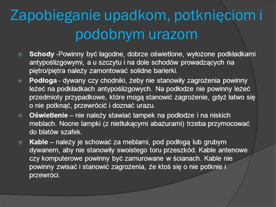 Zapobieganie upadkom, potknięciom i podobnym urazom Schody -Powinny być łagodne, dobrze oświetlone, wyłożone podkładkami antypoślizgowymi, a u szczytu