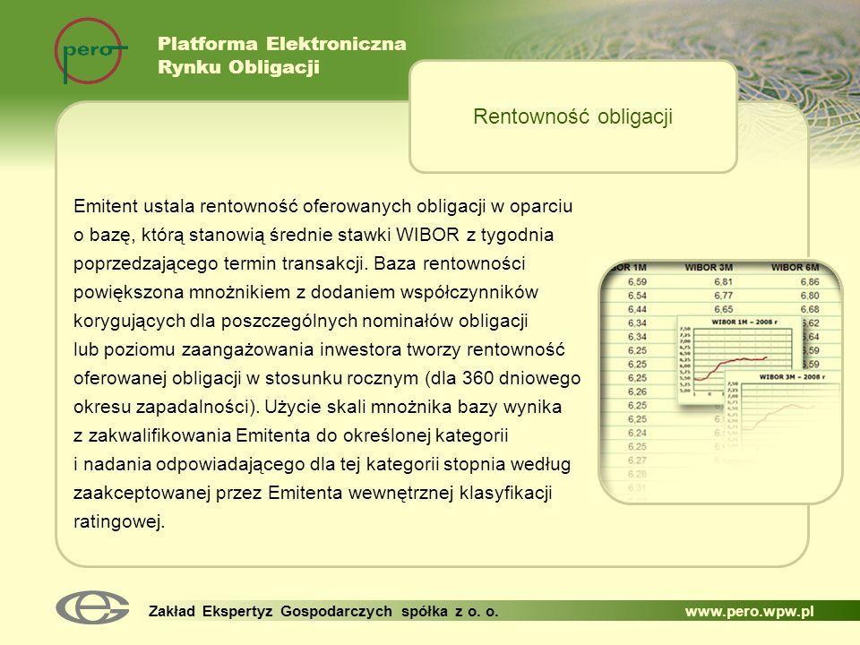 Platforma Elektroniczna Rynku Obligacji Zakład Ekspertyz Gospodarczych spółka z o. o. www.pero.wpw.pl Emitent ustala rentowność oferowanych obligacji