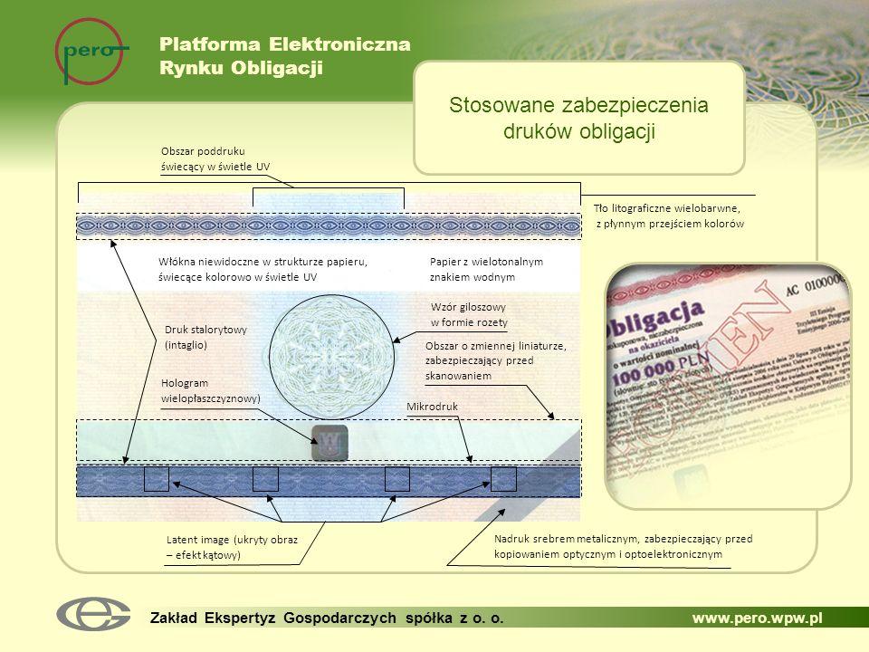 Platforma Elektroniczna Rynku Obligacji Zakład Ekspertyz Gospodarczych spółka z o. o. www.pero.wpw.pl Stosowane zabezpieczenia druków obligacji Tło li