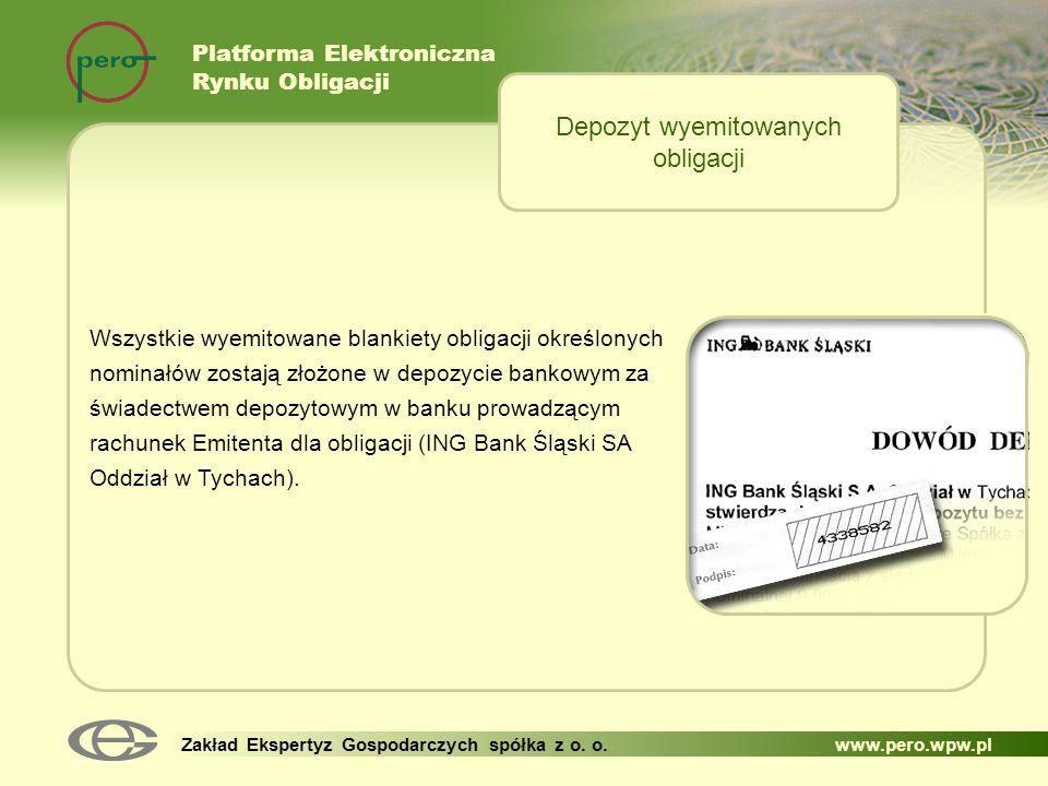 Platforma Elektroniczna Rynku Obligacji Zakład Ekspertyz Gospodarczych spółka z o. o. www.pero.wpw.pl Wszystkie wyemitowane blankiety obligacji określ