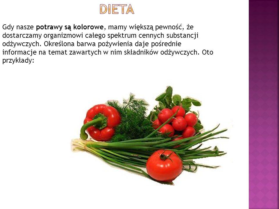Gdy nasze potrawy są kolorowe, mamy większą pewność, że dostarczamy organizmowi całego spektrum cennych substancji odżywczych. Określona barwa pożywie