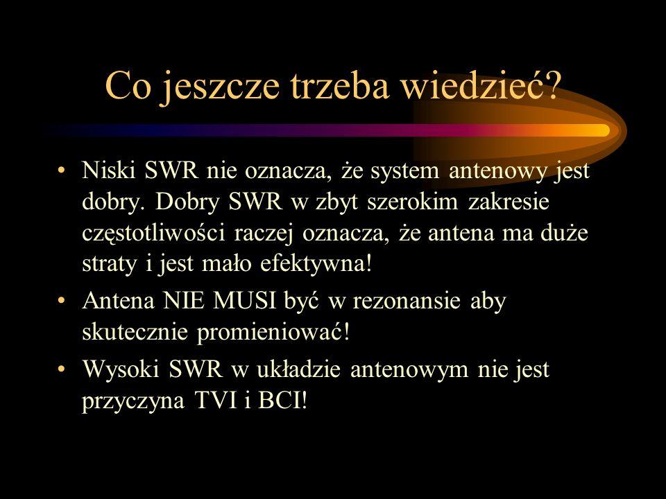 Co jeszcze trzeba wiedzieć? Niski SWR nie oznacza, że system antenowy jest dobry. Dobry SWR w zbyt szerokim zakresie częstotliwości raczej oznacza, że