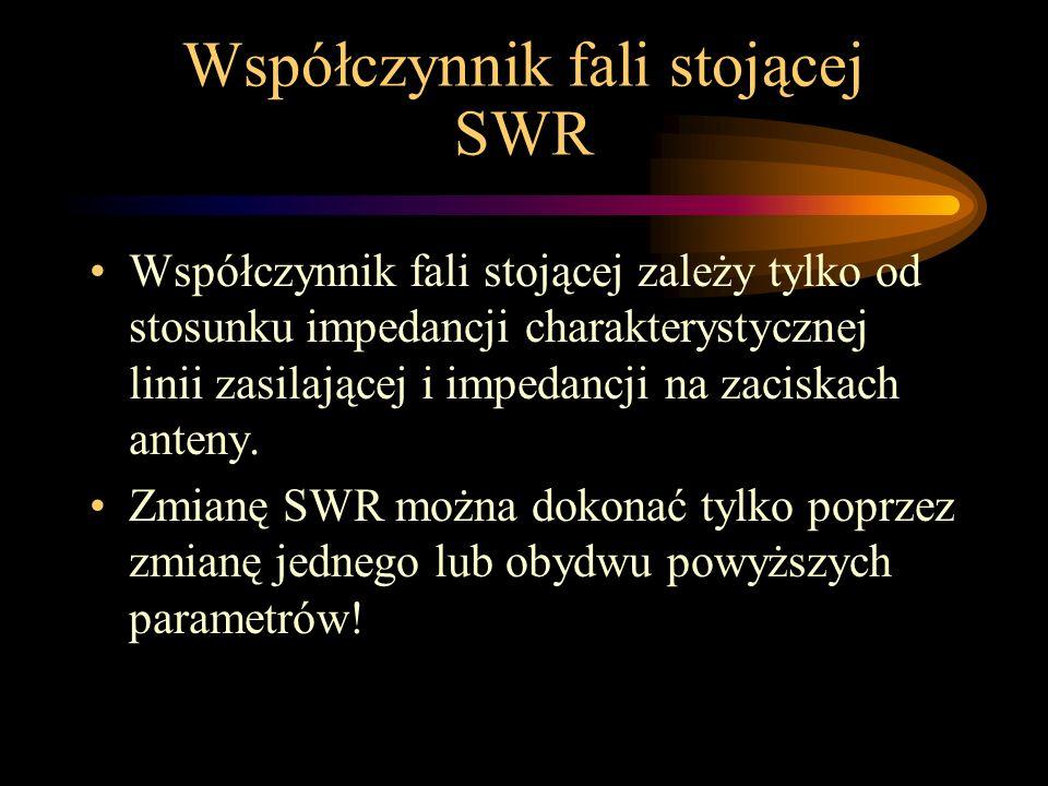 Współczynnik fali stojącej SWR Współczynnik fali stojącej zależy tylko od stosunku impedancji charakterystycznej linii zasilającej i impedancji na zac