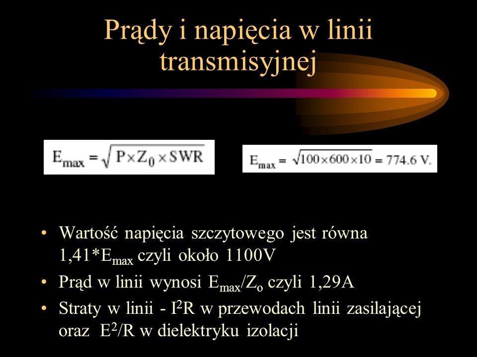 Prądy i napięcia w linii transmisyjnej Wartość napięcia szczytowego jest równa 1,41*E max czyli około 1100V Prąd w linii wynosi E max /Z o czyli 1,29A