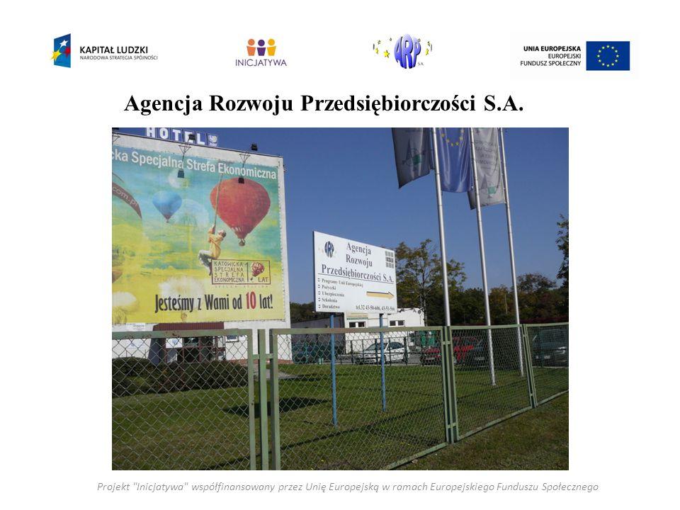 Projekt Inicjatywa współfinansowany przez Unię Europejską w ramach Europejskiego Funduszu Społecznego Agencja Rozwoju Przedsiębiorczości S.A.