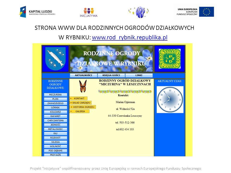 STRONA WWW DLA RODZINNYCH OGRODÓW DZIAŁKOWYCH W PSZOWIE: www.rod_pszow.republika.plwww.rod_pszow.republika.pl