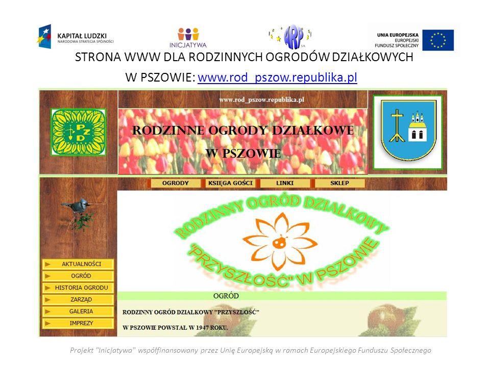 Projekt Inicjatywa współfinansowany przez Unię Europejską w ramach Europejskiego Funduszu Społecznego