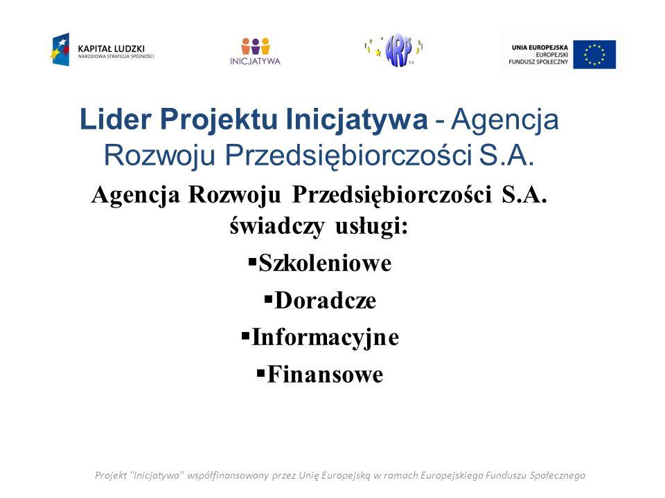 Lider Projektu Inicjatywa - Agencja Rozwoju Przedsiębiorczości S.A. Agencja Rozwoju Przedsiębiorczości S.A. świadczy usługi: Szkoleniowe Doradcze Info