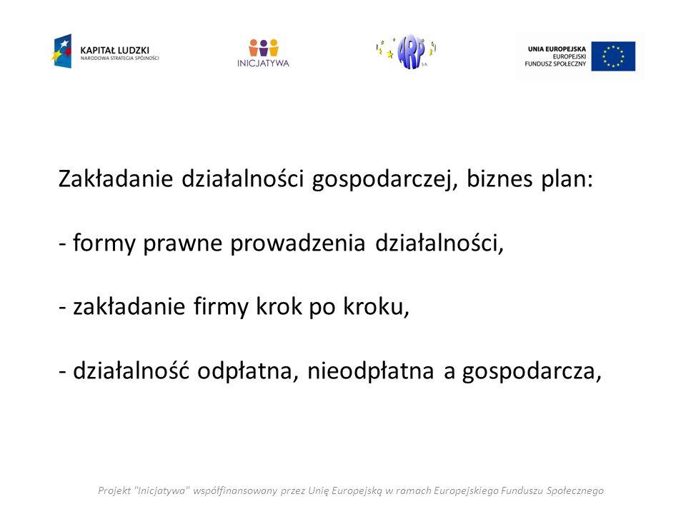 Zakładanie działalności gospodarczej, biznes plan: - formy prawne prowadzenia działalności, - zakładanie firmy krok po kroku, - działalność odpłatna, nieodpłatna a gospodarcza, Projekt Inicjatywa współfinansowany przez Unię Europejską w ramach Europejskiego Funduszu Społecznego