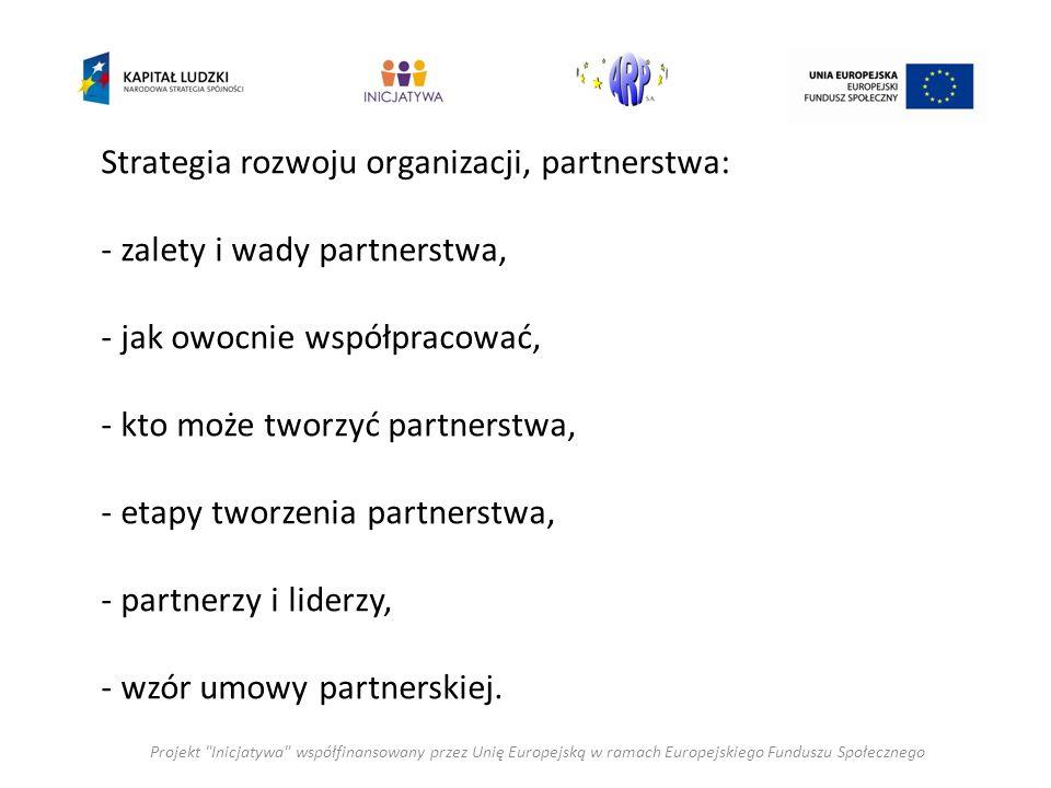 Strategia rozwoju organizacji, partnerstwa: - zalety i wady partnerstwa, - jak owocnie współpracować, - kto może tworzyć partnerstwa, - etapy tworzenia partnerstwa, - partnerzy i liderzy, - wzór umowy partnerskiej.