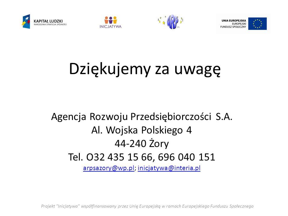 Dziękujemy za uwagę Projekt Inicjatywa współfinansowany przez Unię Europejską w ramach Europejskiego Funduszu Społecznego Agencja Rozwoju Przedsiębiorczości S.A.