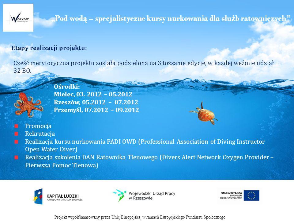Pod wod ą – specjalistyczne kursy nurkowania dla słu ż b ratowniczych Etapy realizacji projektu: Projekt współfinansowany przez Unię Europejską w ramach Europejskiego Funduszu Społecznego Część merytoryczna projektu została podzielona na 3 tożsame edycje, w każdej weźmie udział 32 BO.