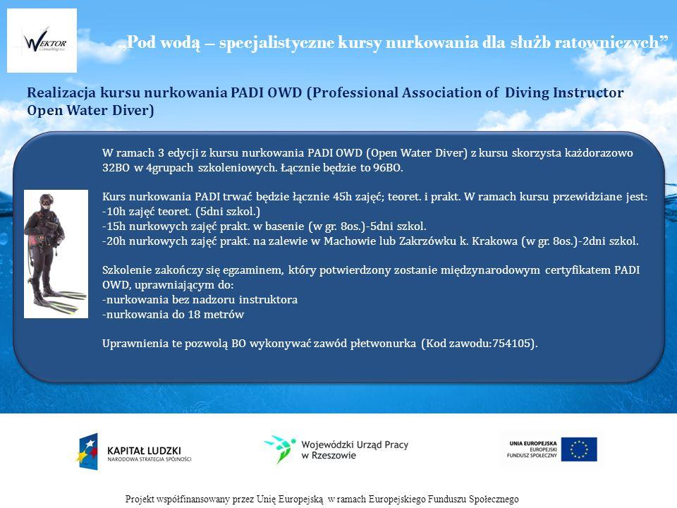 Pod wod ą – specjalistyczne kursy nurkowania dla słu ż b ratowniczych Realizacja kursu nurkowania PADI OWD (Professional Association of Diving Instructor Open Water Diver) Projekt współfinansowany przez Unię Europejską w ramach Europejskiego Funduszu Społecznego W ramach 3 edycji z kursu nurkowania PADI OWD (Open Water Diver) z kursu skorzysta każdorazowo 32BO w 4grupach szkoleniowych.