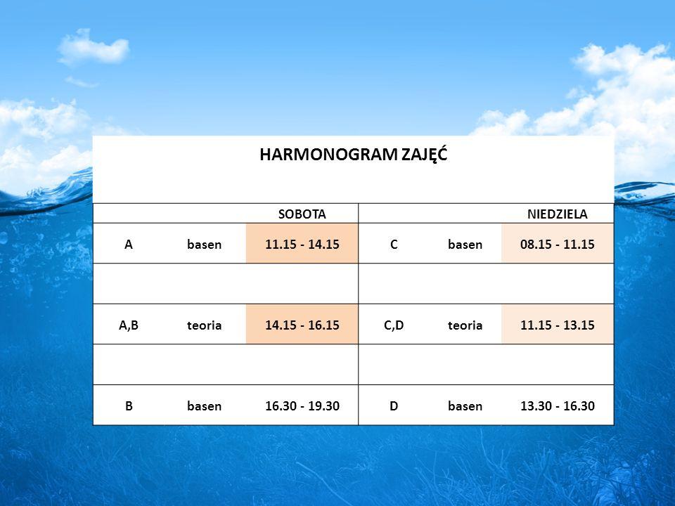 HARMONOGRAM ZAJĘĆ SOBOTA NIEDZIELA Abasen11.15 - 14.15Cbasen08.15 - 11.15 A,Bteoria14.15 - 16.15C,Dteoria11.15 - 13.15 Bbasen16.30 - 19.30Dbasen13.30 - 16.30