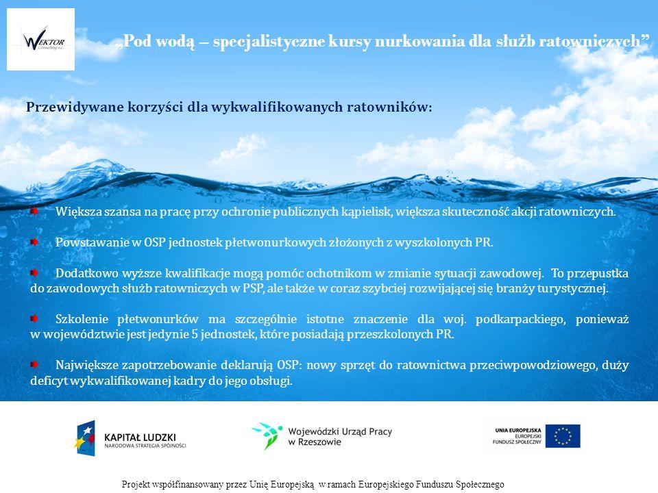 Pod wod ą – specjalistyczne kursy nurkowania dla słu ż b ratowniczych Przewidywane korzyści dla wykwalifikowanych ratowników: Projekt współfinansowany przez Unię Europejską w ramach Europejskiego Funduszu Społecznego Większa szansa na pracę przy ochronie publicznych kąpielisk, większa skuteczność akcji ratowniczych.