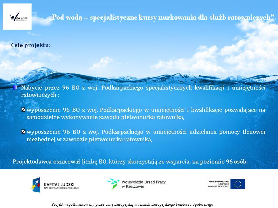 Pod wod ą – specjalistyczne kursy nurkowania dla słu ż b ratowniczych Cele projektu: Projekt współfinansowany przez Unię Europejską w ramach Europejskiego Funduszu Społecznego Nabycie przez 96 BO z woj.
