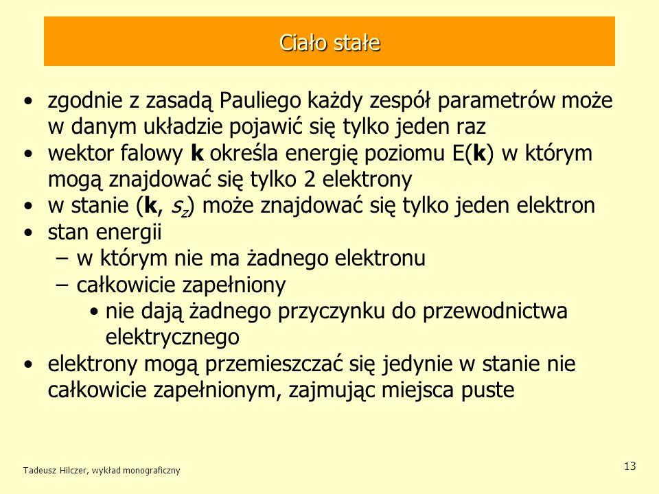 Ciało stałe zgodnie z zasadą Pauliego każdy zespół parametrów może w danym układzie pojawić się tylko jeden raz wektor falowy k określa energię poziom