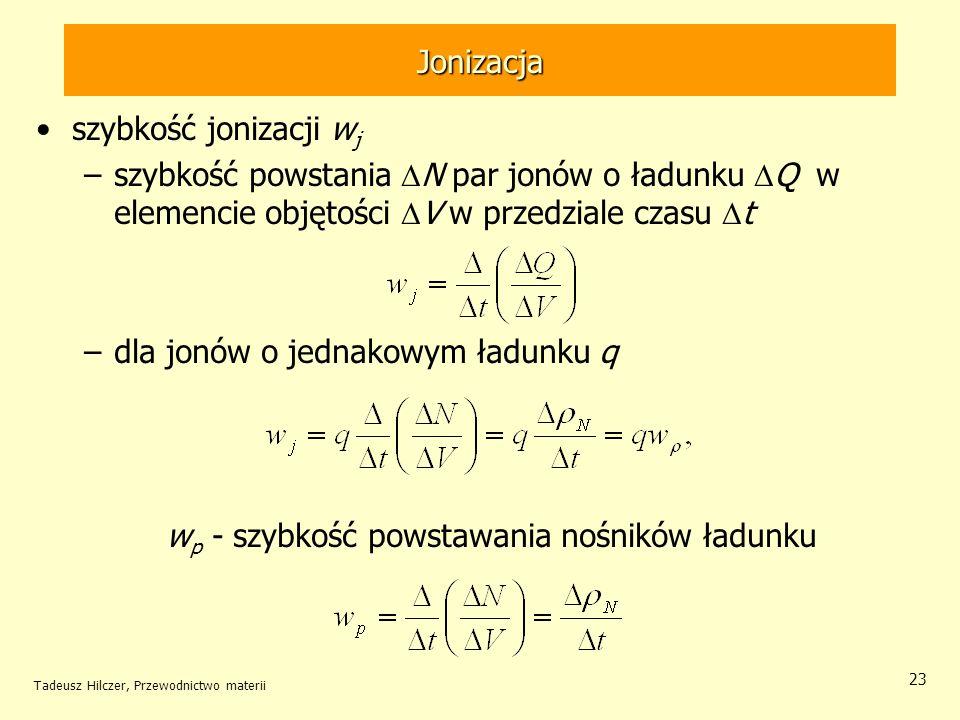 Tadeusz Hilczer, Przewodnictwo materii 23 szybkość jonizacji w j –szybkość powstania N par jonów o ładunku Q w elemencie objętości V w przedziale czas