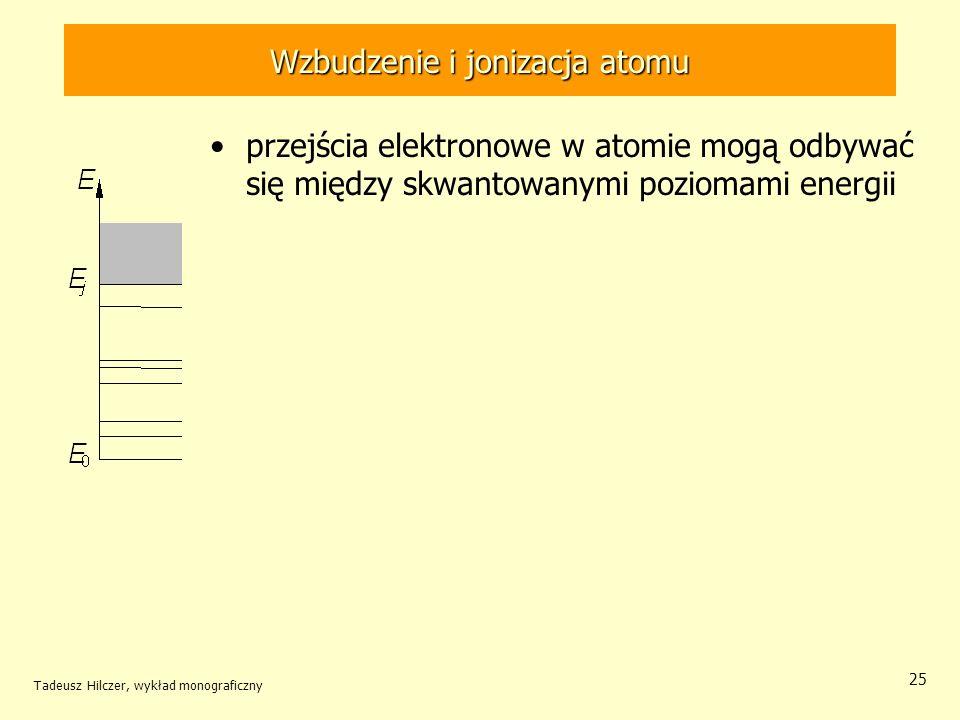 Wzbudzenie i jonizacja atomu przejścia elektronowe w atomie mogą odbywać się między skwantowanymi poziomami energii Tadeusz Hilczer, wykład monografic