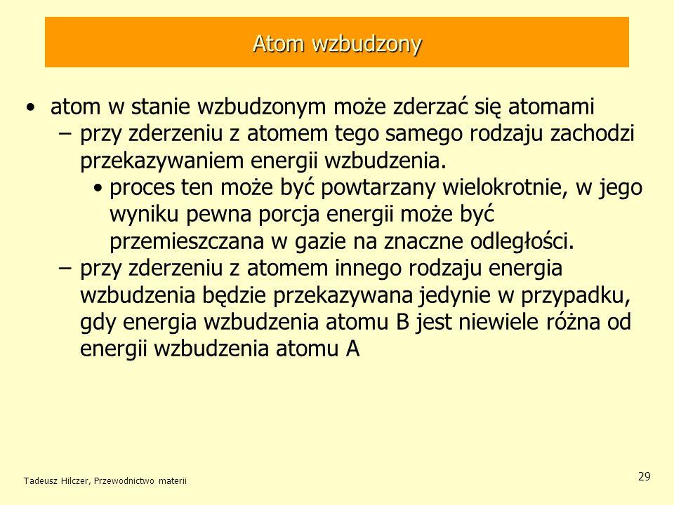 Tadeusz Hilczer, Przewodnictwo materii 29 atom w stanie wzbudzonym może zderzać się atomami –przy zderzeniu z atomem tego samego rodzaju zachodzi prze