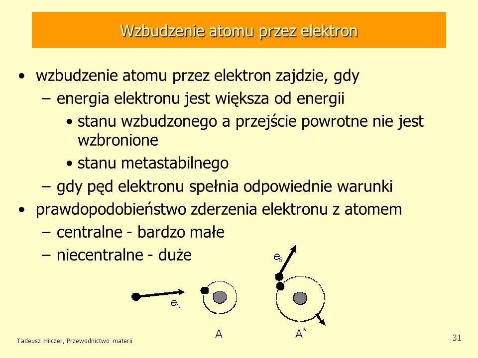 Tadeusz Hilczer, Przewodnictwo materii 31 wzbudzenie atomu przez elektron zajdzie, gdy –energia elektronu jest większa od energii stanu wzbudzonego a