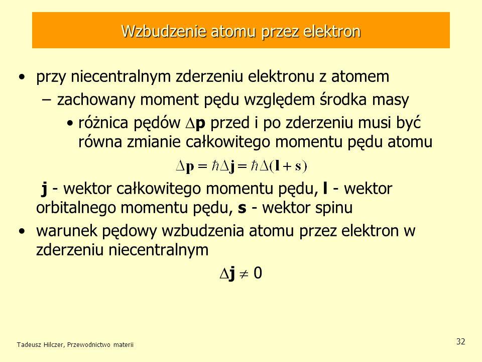 Tadeusz Hilczer, Przewodnictwo materii 32 przy niecentralnym zderzeniu elektronu z atomem –zachowany moment pędu względem środka masy różnica pędów p