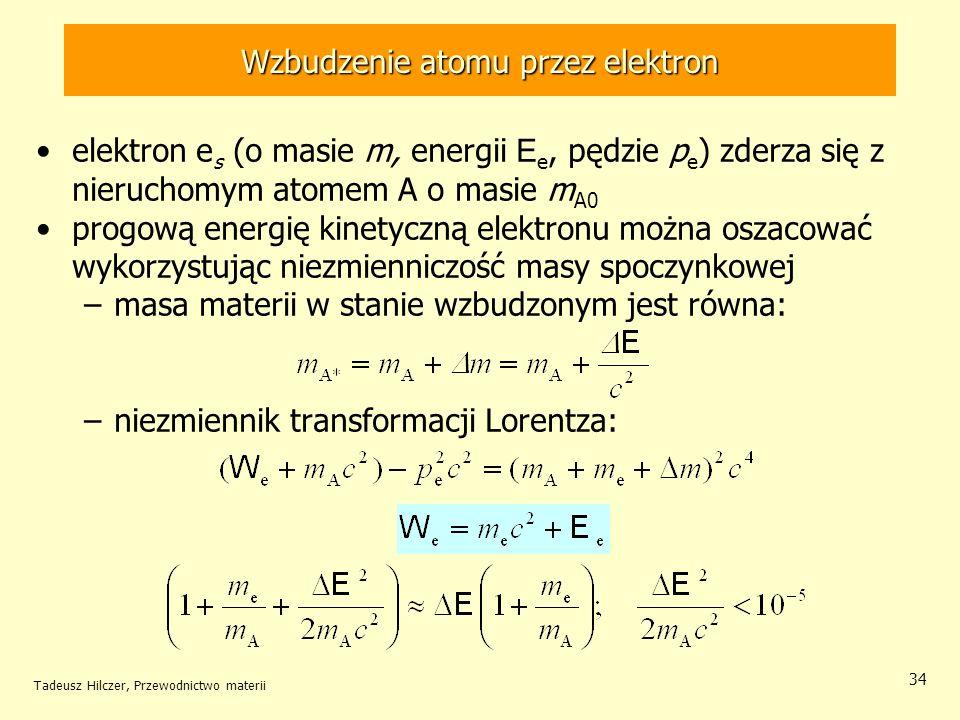 Tadeusz Hilczer, Przewodnictwo materii 34 elektron e s (o masie m, energii E e, pędzie p e ) zderza się z nieruchomym atomem A o masie m A0 progową en