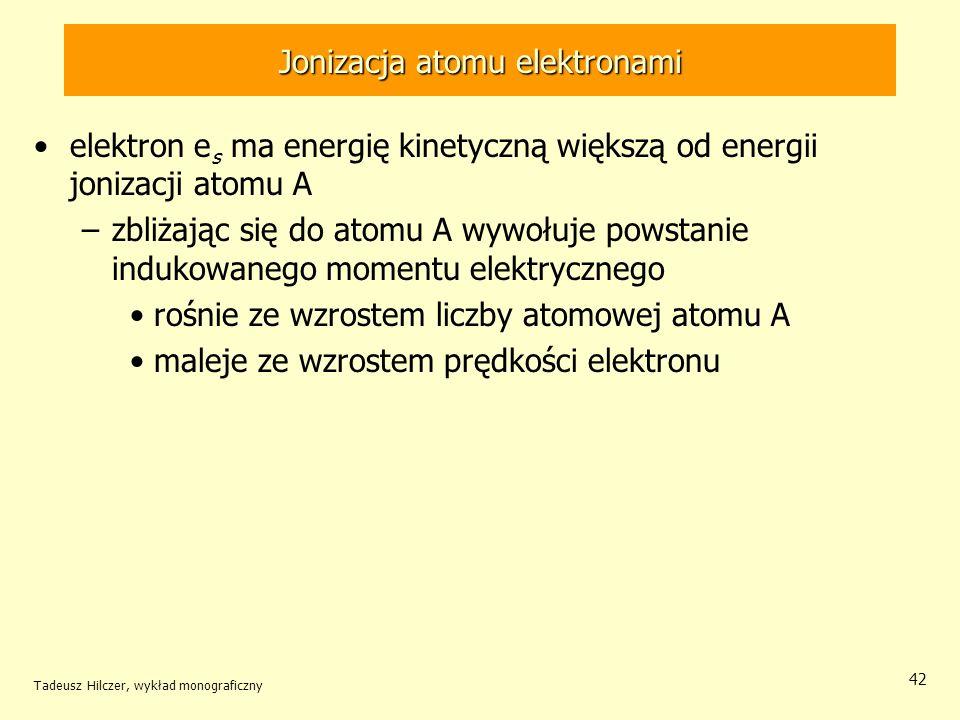 Jonizacja atomu elektronami elektron e s ma energię kinetyczną większą od energii jonizacji atomu A –zbliżając się do atomu A wywołuje powstanie induk