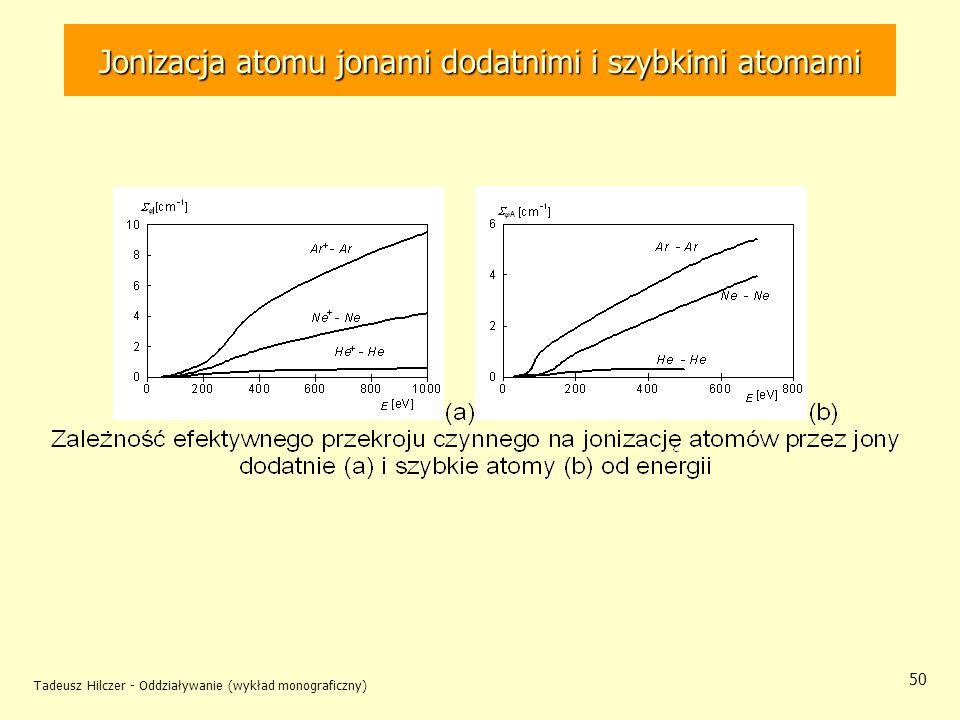 Tadeusz Hilczer - Oddziaływanie (wykład monograficzny) 50 Jonizacja atomu jonami dodatnimi i szybkimi atomami