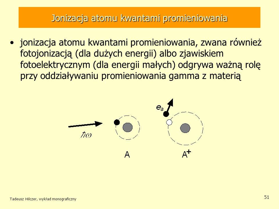 Jonizacja atomu kwantami promieniowania jonizacja atomu kwantami promieniowania, zwana również fotojonizacją (dla dużych energii) albo zjawiskiem foto