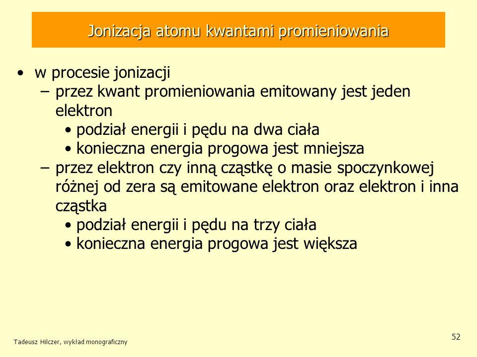 Jonizacja atomu kwantami promieniowania w procesie jonizacji –przez kwant promieniowania emitowany jest jeden elektron podział energii i pędu na dwa c