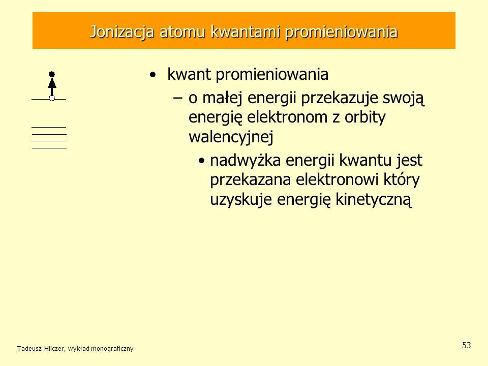 Jonizacja atomu kwantami promieniowania kwant promieniowania –o małej energii przekazuje swoją energię elektronom z orbity walencyjnej nadwyżka energi