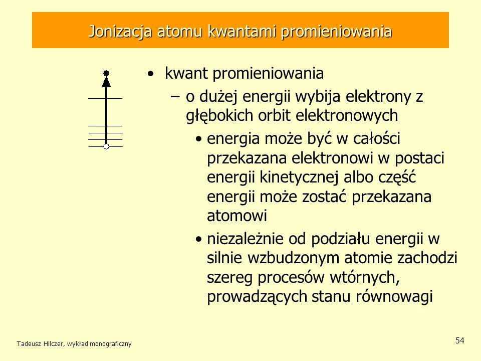 Jonizacja atomu kwantami promieniowania kwant promieniowania –o dużej energii wybija elektrony z głębokich orbit elektronowych energia może być w cało