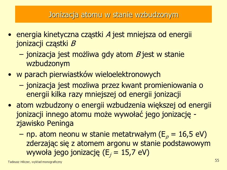 Jonizacja atomu w stanie wzbudzonym energia kinetyczna cząstki A jest mniejsza od energii jonizacji cząstki B –jonizacja jest możliwa gdy atom B jest