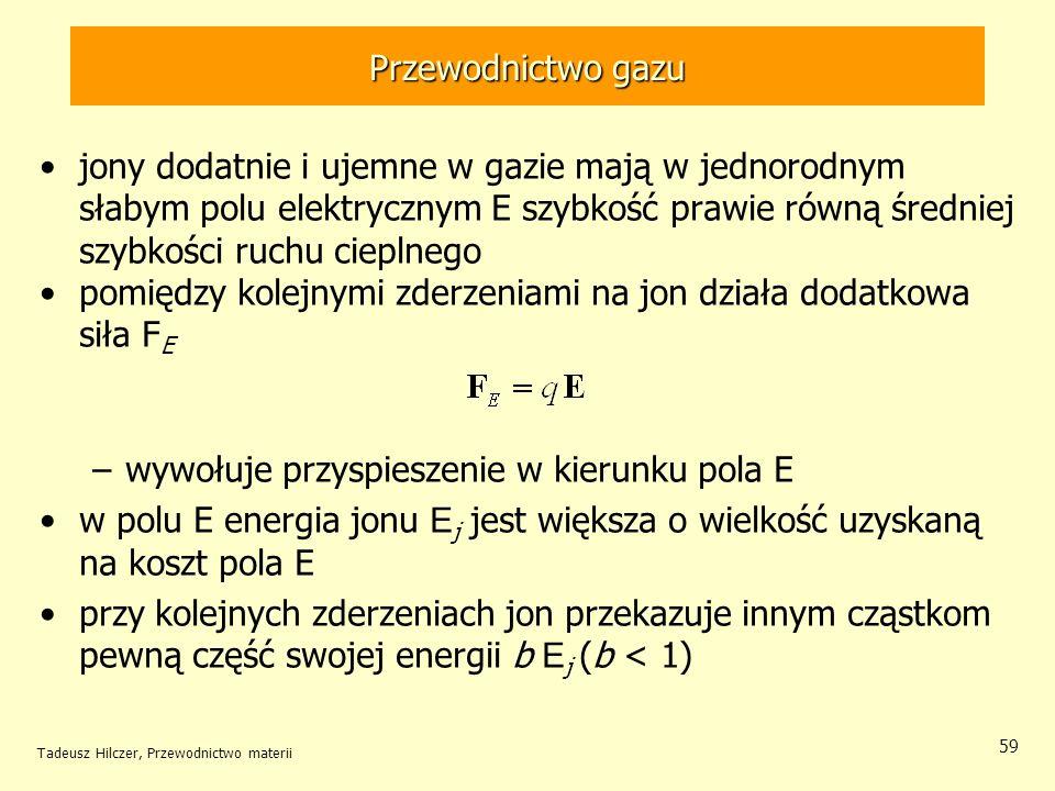 Tadeusz Hilczer, Przewodnictwo materii 59 jony dodatnie i ujemne w gazie mają w jednorodnym słabym polu elektrycznym E szybkość prawie równą średniej