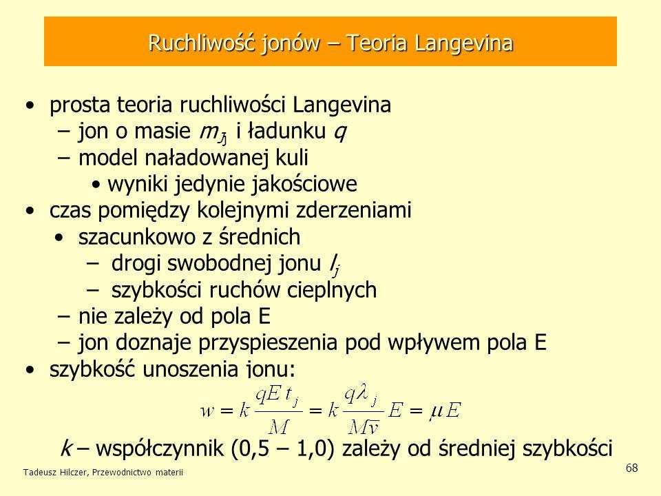 Tadeusz Hilczer, Przewodnictwo materii 68 prosta teoria ruchliwości Langevina –jon o masie m Jj i ładunku q –model naładowanej kuli wyniki jedynie jak